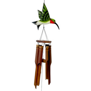 Cohasset Glossy Finish Humming Bird Bamboo Windchime