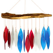 Gift Essentials Glass Red White & Blue Wind Chime